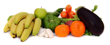 Vegetables and fruits. Fresh vegetables and fruits on white background royalty free stock images