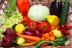 Vegetables and fruits. Fresh fruits and fresh vegetables Stock Photography