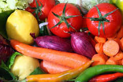 Vegetables and fruits. Fresh fruits and fresh vegetables Stock Photos