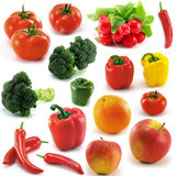 Vegetables and fruits. A lot of vegetables and fruits on white background Royalty Free Stock Photos