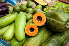 Vegetables and fruits at asian market Stock Photography