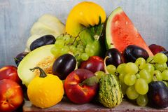 Vegetables and fruits in the autumn diet Stock Images