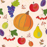 Vegetables and fruits autumn seamless Stock Photo