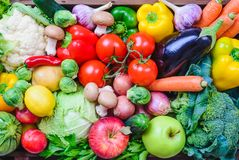 Vegetables and fruits background.Healthy eating. Vegetables and fruits top view background.Healthy eating Royalty Free Stock Photo