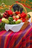 Vegetables and fruits in basket Stock Photography