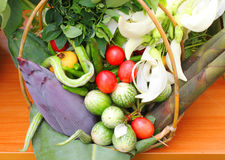 Vegetables and fruits in basket decoration Stock Image