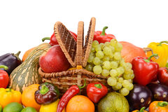 Vegetables and fruits in a basket Royalty Free Stock Photo
