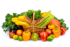Vegetables and fruits in a basket Royalty Free Stock Photos