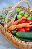 Vegetables and fruits in a basket Stock Photo