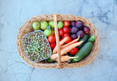 Vegetables and fruits in a basket Stock Photography