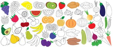 Vegetables, fruits and berries colorful and in black with white royalty free illustration
