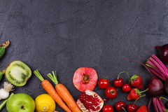 Vegetables and fruits on black background Royalty Free Stock Image