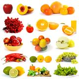 Vegetables and fruits collection. On white background Royalty Free Stock Image