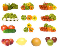 Vegetables and fruits collection. Isolated on a white background Royalty Free Stock Images