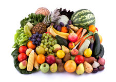 Vegetables and fruits. Collection of vegetables and fruits on white background royalty free stock photography