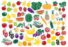 Vegetables and fruits color Stock Images
