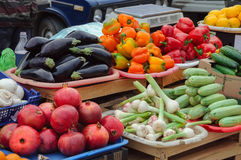 Vegetables and fruits on the counter of city market. Russia Stock Photography