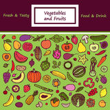 Vegetables and Fruits Doodle Card Royalty Free Stock Image