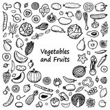 Vegetables and Fruits Doodle Frame Royalty Free Stock Photo