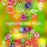 Vegetables and Fruits Doodle Set vector illustration