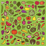 Vegetables and fruits doodle set Royalty Free Stock Photos