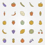 Vegetables and fruits flat icons. Vector collection of foods royalty free illustration