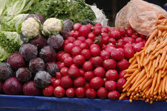 Vegetables and fruits in food stall of Turkish bazaar Stock Image