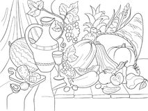 Vegetables and fruits harvest style vector illustration. Thanksgiving Day still life. Old engraving imitation. Stock Photography
