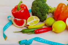 Vegetables and fruits for a healthy diet Stock Photo