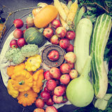 Vegetables and fruits heap, autumn still life Royalty Free Stock Photos