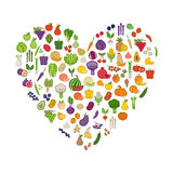 Vegetables and fruits in a heart shape Stock Photography
