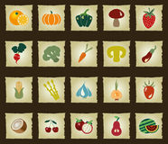 Vegetables and Fruits icon set - Illustration- Illustration Royalty Free Stock Photos