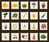 Vegetables and Fruits icon set Stock Images