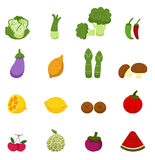 Vegetables and fruits icons Stock Photography
