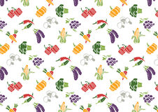 Vegetables and Fruits icons set and signs pattern Stock Image