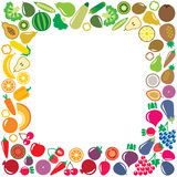 Vegetables and fruits icons square frame Stock Photos