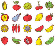 Vegetables and fruits icons vector set Royalty Free Stock Photo