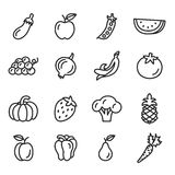 Vegetables and Fruits Icons. With White Background Royalty Free Stock Photography