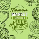 Vegetables and fruits illustration for farm market royalty free stock image