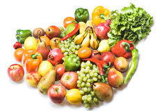 Vegetables & Fruits Isolated Stock Image