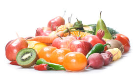 Vegetables & fruits isolated Stock Images