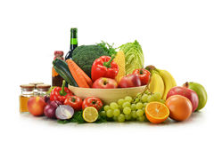 Vegetables and fruits isolated on white Stock Photo