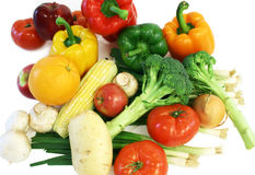 Vegetables and Fruits from the Market. Fruits and vegetables are displayed Royalty Free Stock Photos