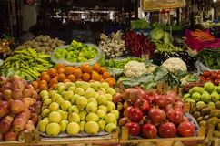 Vegetables and fruits in the market spread out as a background. In Fethiye. Turkey Royalty Free Stock Photo