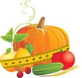 Vegetables and fruits with measuring tape Royalty Free Stock Photo