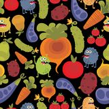 Vegetables and fruits with microbes. Royalty Free Stock Photography