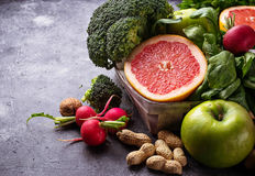 Vegetables, fruits  and nuts. Healthy vegetarian food. Vegetables, fruit and nuts. Selective focus Stock Image