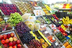 Vegetables and fruits at open air market Stock Photos
