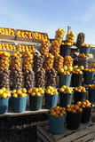 Vegetables and fruits at outdoor market Royalty Free Stock Photos