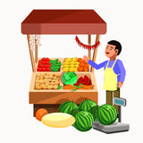 Vegetables and fruits product seller at the counter stall. Vegetables and fruits product seller at the counter and stall. Vector shop in flat style. Kiosk with royalty free illustration